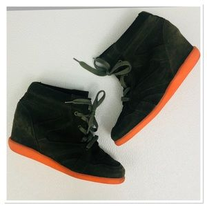 Topshop Suede heeled High Top Sneakers Booties